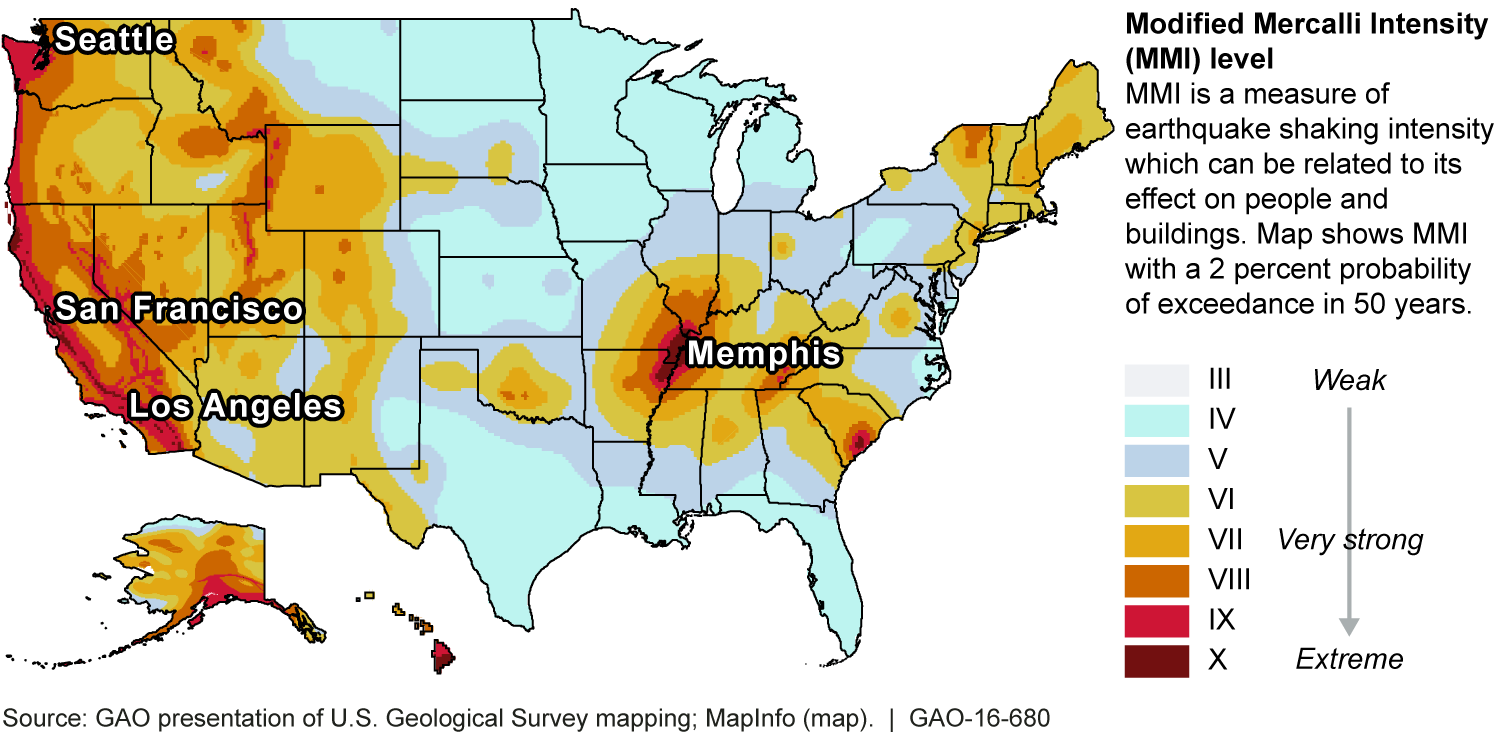 Figure: Select Cities on 2014 Earthquake Shaking Map