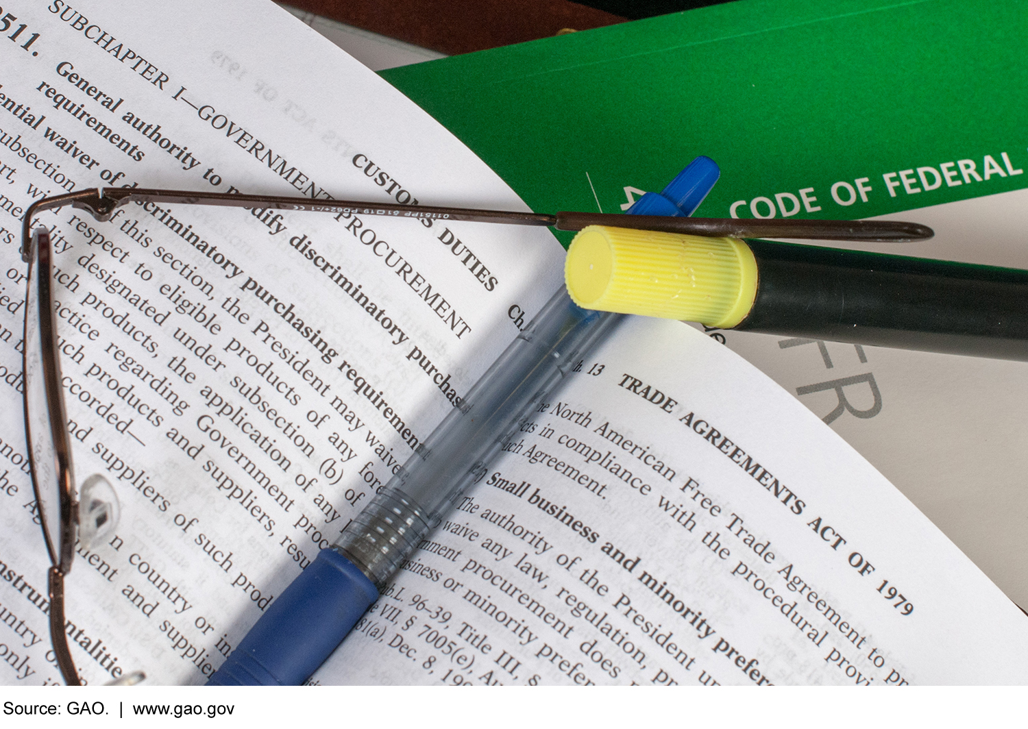 Photo of books on federal regulations, a pen, glasses, and highlighter.