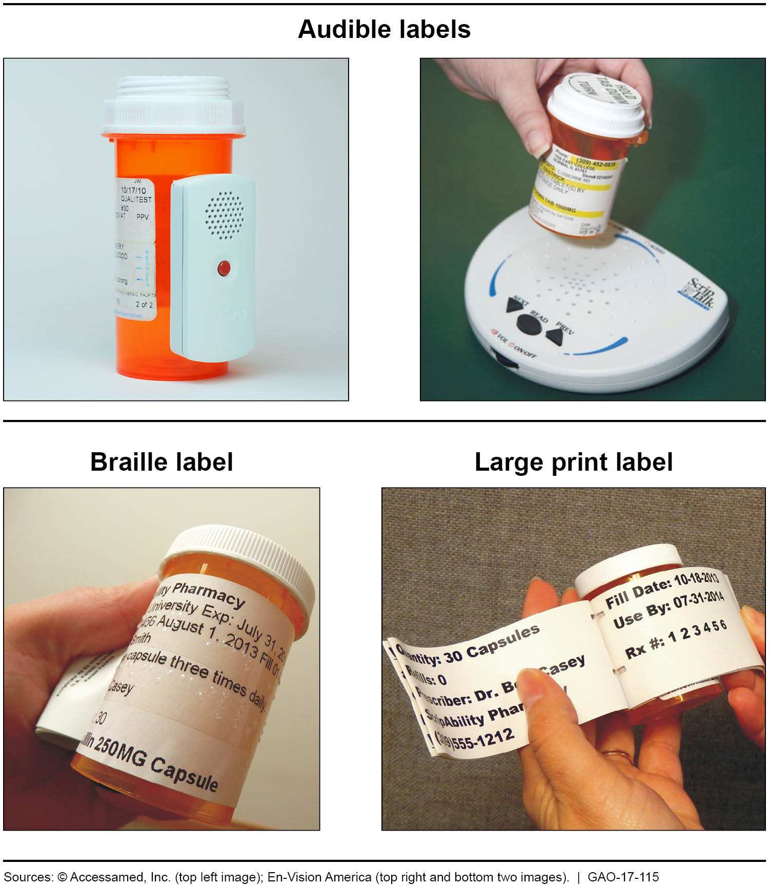 Examples of audible, braille, and large print prescription drug container labels.