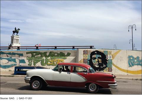 Photo of a 1950s style car on a road. Graffiti and monument in the background.