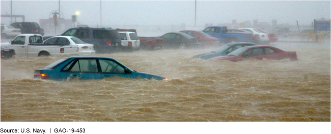 Photo of cars partially submerged in flood waters