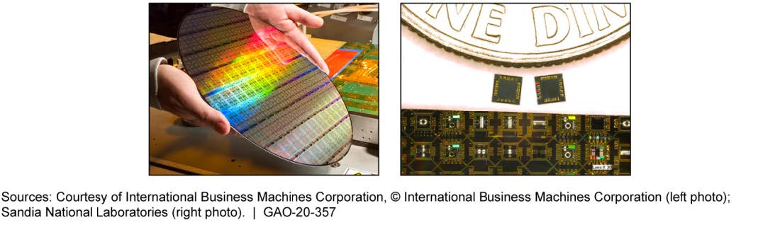 Photos of Microelectronics on a Silicon Wafer and Diced into Individual Parts