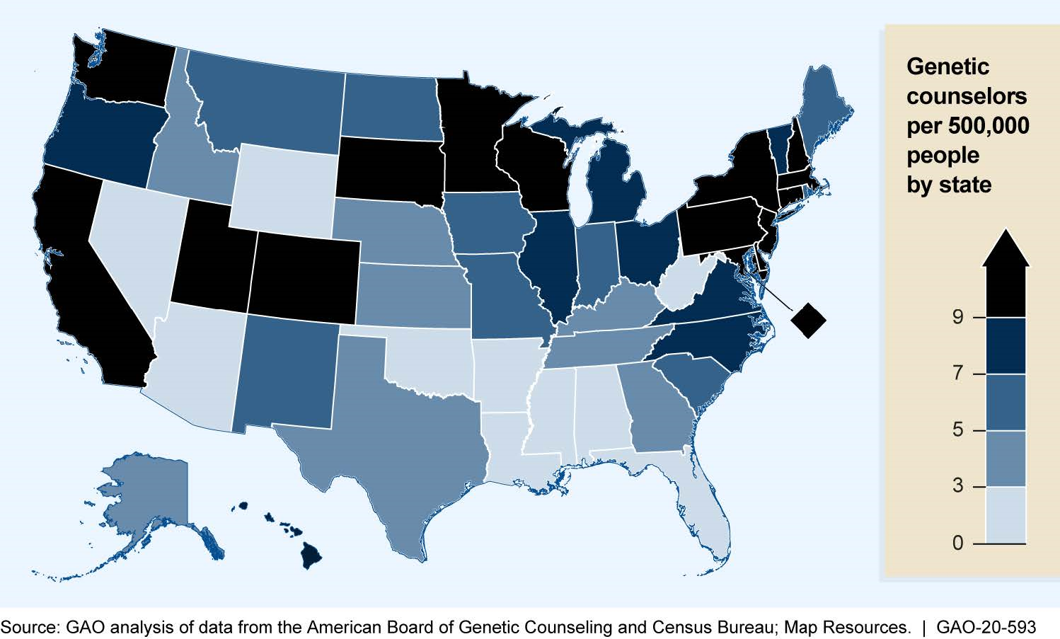 Distribution of Genetic Counselors by State, 2019