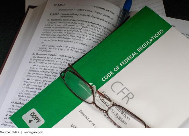 A photo of the Code of Federal Regulations and a pair of reading glasses.