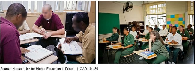 These are two photos of students in prison classrooms. The first is a class with men and the second is a class with women.