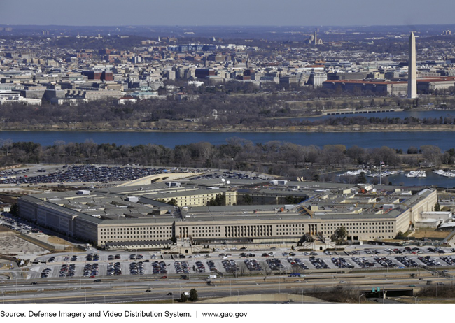Aerial photo of the Pentagon building with the Washington monument in the background