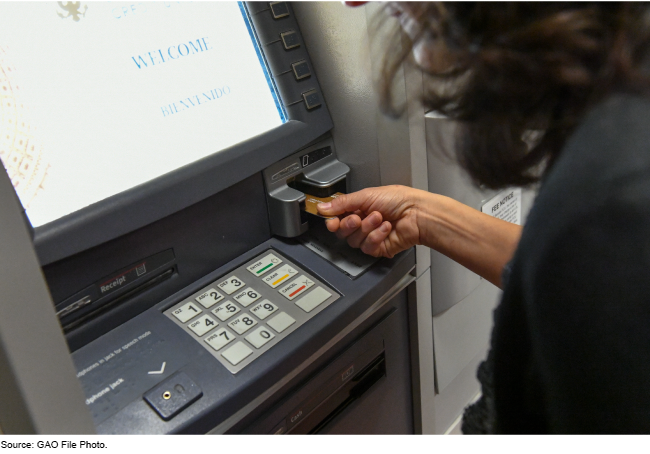 Person using an ATM machine.