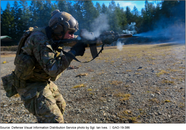 A soldier firing a long gun