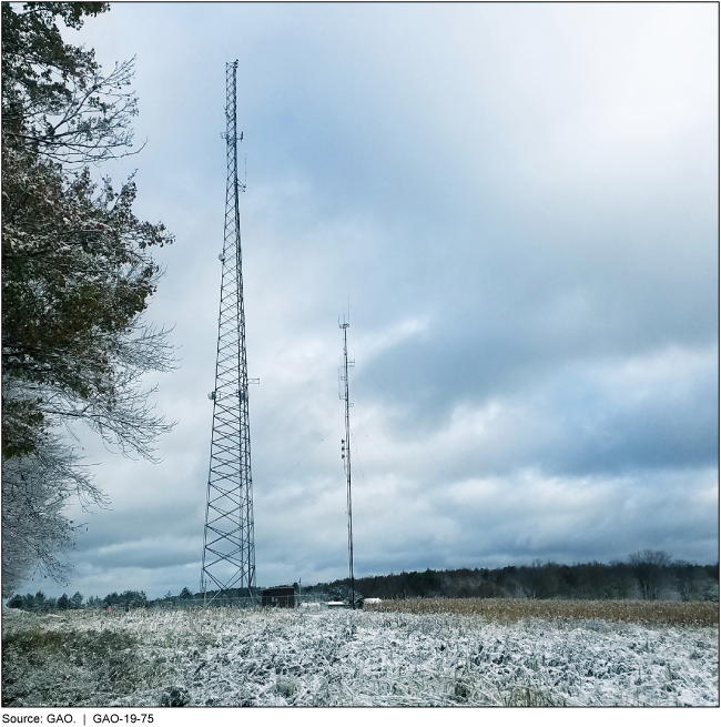 Photograph of cell tower in a snowy field.