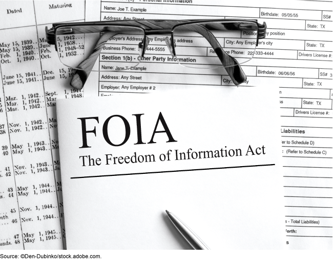 Glasses, forms, and a FOIA booklet