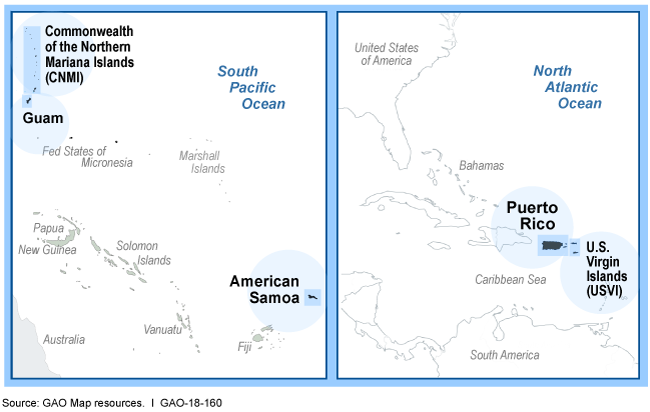 Maps showing locations of U.S. territories in South Pacific and North Atlantic oceans.