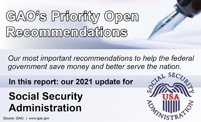 """Graphic that says, """"GAO's Priority Open Recommendations"""" and includes the seal of the Social Security Administration."""