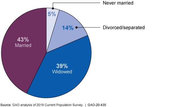 Pie chart showing 43% married, 5% never married, 14% divorced or separated, and 39% widowed.