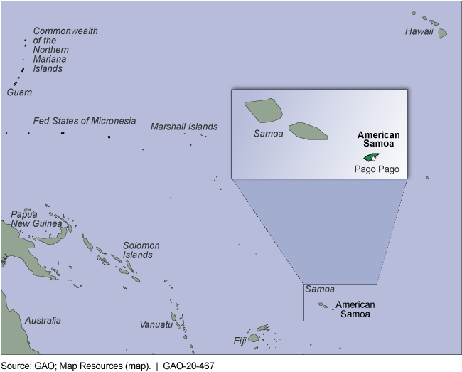Map showing American Samoa east of Fiji and south of Hawaii