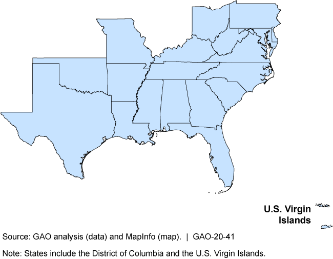 Map showing states with historically black colleges and universities