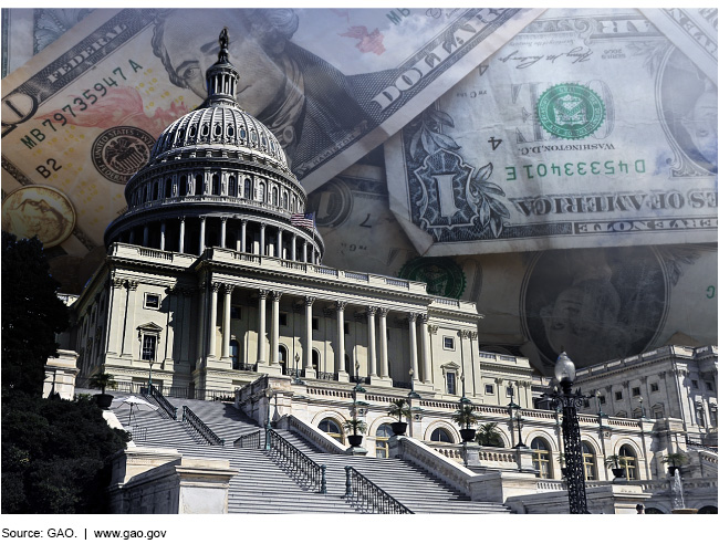 The United States Capitol with cash superimposed on the background