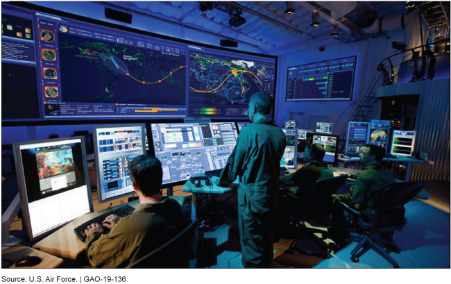 Military personnel looking at a bank of large monitors in a dimly lit room.