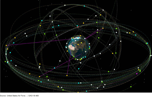 Graphic representing the man-made satellites that orbit the Earth.