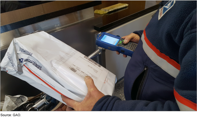 A postal worker scanning a USPS package with a handheld device