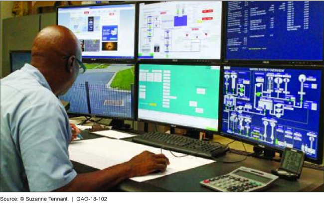 Photo of wastewater treatment plant operator viewing computer screens that show the supervisory control and data acquisition system.