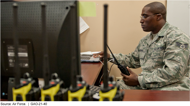Photo of a uniformed member of the Air Force working with land mobile radios