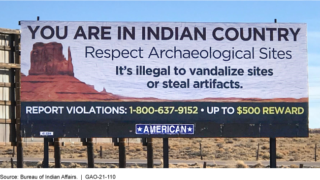 Billboard on respecting archeological sites on Native American territory