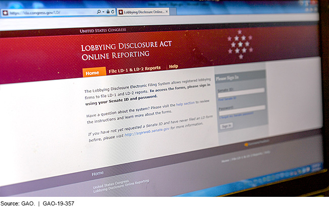 Screenshot of the lobbying disclosure act online reporting portal
