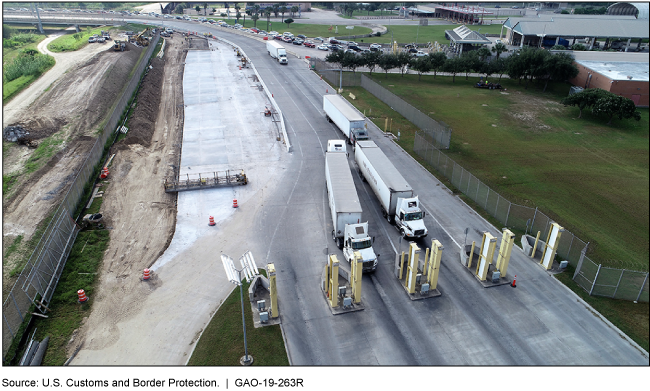Inspection lane at a land port of entry in Cameron Country, Texas