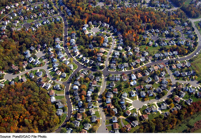 Aerial view of housing developments
