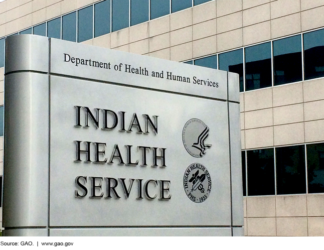 Photo of the sign in front of an Indian Health Service building
