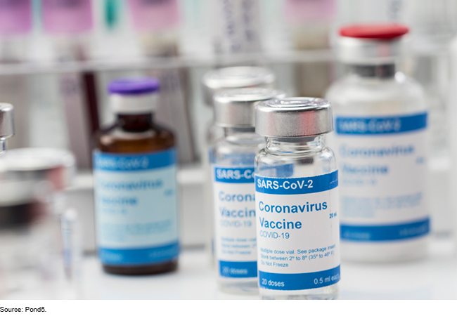 Containers of an experimental COVID-19 vaccine