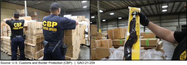CBP Agents Inspecting a Detained Shipment of Hair Products from China