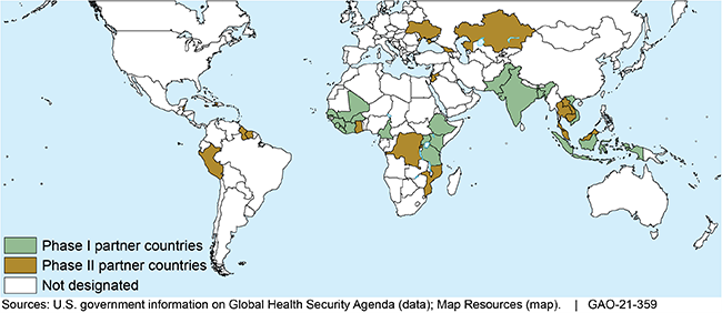 World map showing the locations of Phase I and Phase II Global Health Security Agenda partner countries.