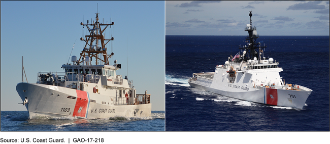 Two photos of the Coast Guard's 154-foot Fast Response Cutter and 418-foot National Security Cutter.
