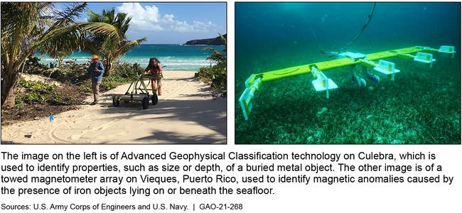 Example of Two Technologies Used to Detect Unexploded Munitions on Land and Underwater as Part of Cleanup Efforts on Vieques and Culebra, Puerto Rico