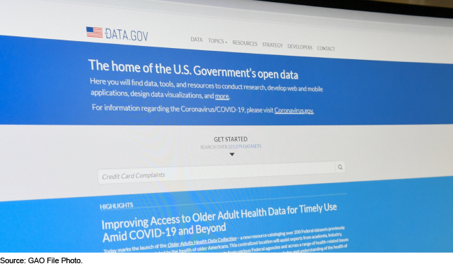 Homepage of the Data.gov website.