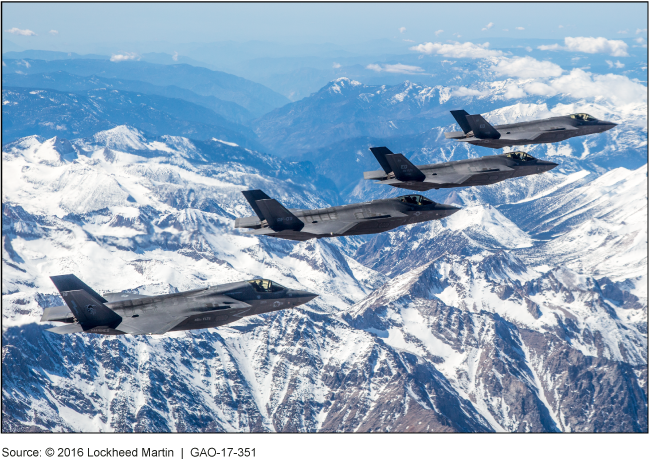 Photo of four F-35s in flight.