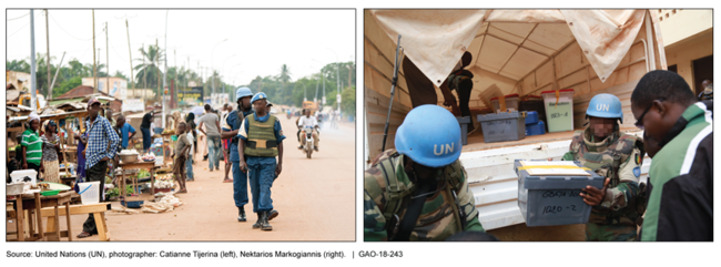 Photos show peacekeepers walking down the street and unloading a truck.