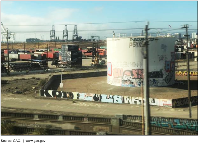 Photograph of an industrial part of West Oakland near the port.