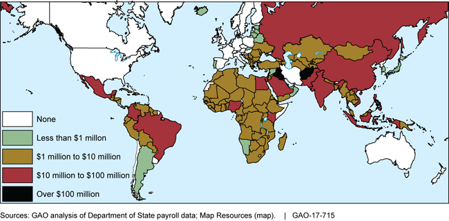 Map of global spending for hardship and danger pay for fiscal years 2011-2016.