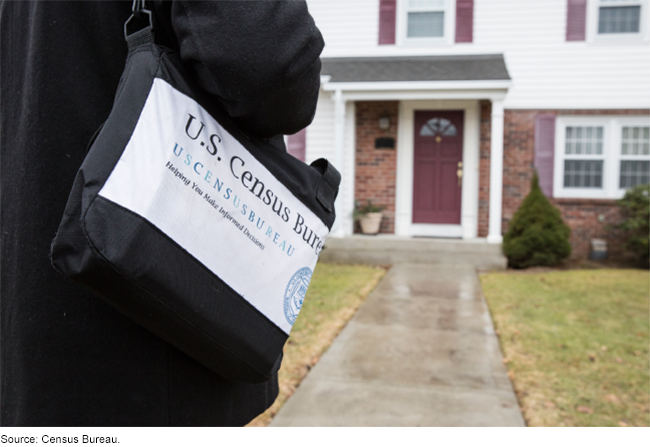 A Census Bureau worker approaching a house
