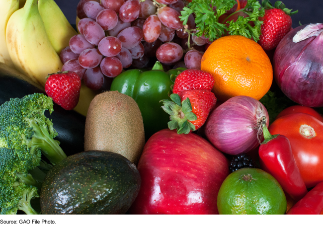 Photo of fresh fruits and vegetables.