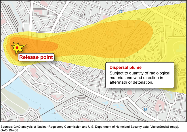 Graphic showing the dispersal cloud of a hypothetical dirty bomb.