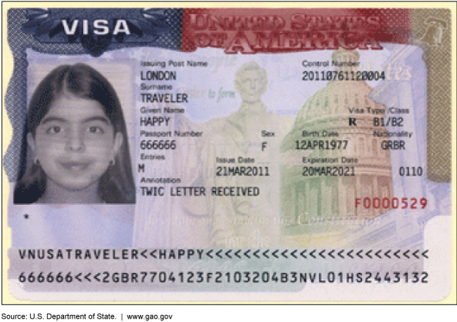 A mock visa with a woman's photograph and information such as the name Happy Traveler