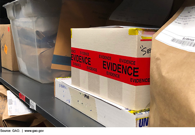 Boxes of evidence on a metal shelf