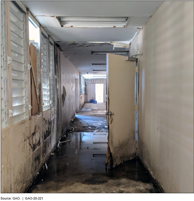 Water-damaged hallway