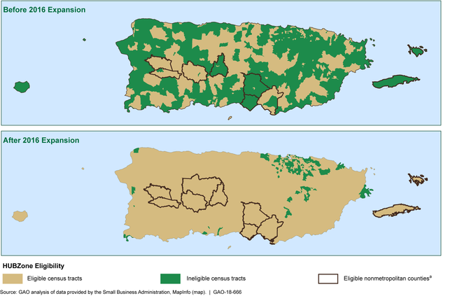 This graphic shows two maps of Puerto Rico and the vast expansion of areas that qualify for the program after 2016.