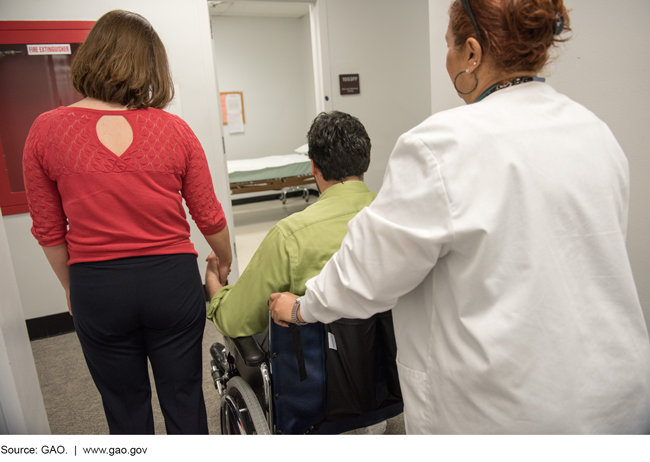 Photo of a woman holding hands with a man in a wheelchair as a health care worker pushes him toward a room in a clinic.