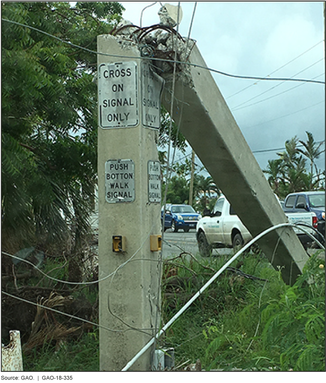 Photo of damaged traffic signal and power lines.